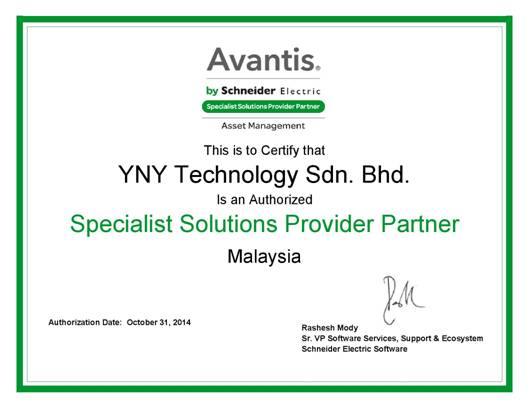 YNY as Authorized Specialist Solutions Provider Partner (SSP) for Avantis Computerized maintenance management system (CMMS)